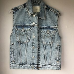 MAJE Light Wash Denim Vest Sz 36